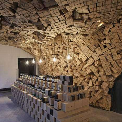 Corrugated Cave Displays - March Studio Piles Up Boxes to Promote Aesop