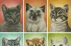 Alien Cat Illustrations - Casey Weldon Paints Four-Eyed Felines