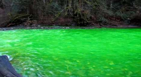 River Pollution Pranks - Glowing Green River Caused by Pranksters?
