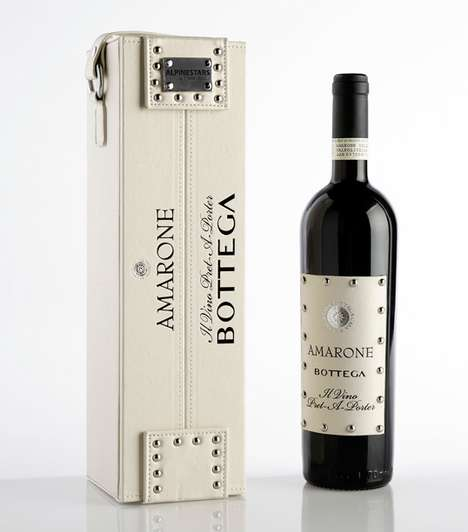 Stylish Studded Wine Cases - Distilleria Bottega's Wine Encased in Classy Leather