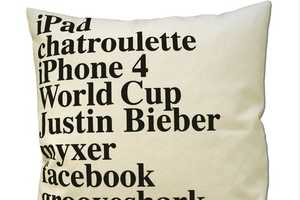 Google 2010 Pillow by Elastic Co. Captures a Year in Search Terms