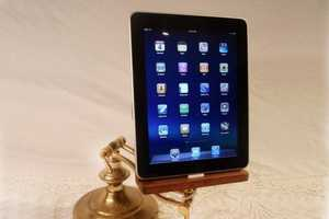 The Adjustable Brass iPad Dock is for Tech-Savvy Hipsters
