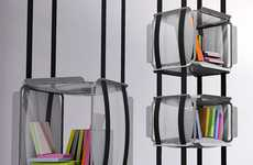 Suspended Bookshelves - Adrien De Melo's Upside Down Library