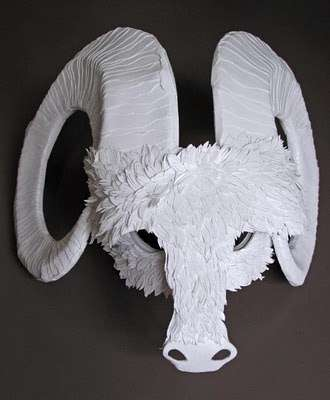 Paper Animal Mask Sculptures - Paper Cut Project's Awesome Animalia Paper Art Collection