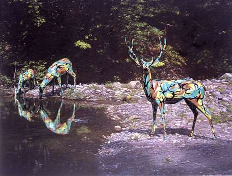 Camouflaged Wildlife Art - Ron English Combines Chameleons and Deer