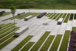 The Patterned Grass Gardens of Deichmann Square by Chyutin Architects