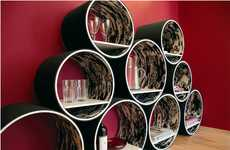 Stackable Circular Storage - Contemporary Flexi Shelving Provides Cylindrical Storage Solutions
