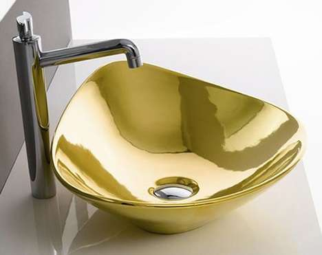 Gilded Bathroom Fixtures - Gold Sinks by Scarabeo Add the Ultimate Bling to Washrooms