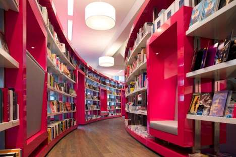 Hot Pink Retail Shops - The Paagman Bookstore in the Hague Has a Dazzling Design
