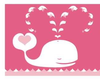 Love Bug Twitter Whales - Walls 360 Yiying Lu Honeysuckle Collection is for Valentine's Day