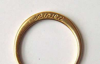 Minimalist Engagement Jewelry 14 karat gold loved etched