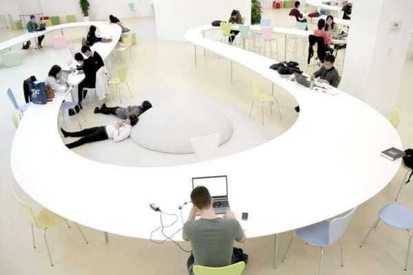 Stretched Snaking Desks