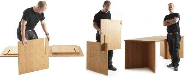 Slotted Multifunctional Furniture 3 In 1 Table
