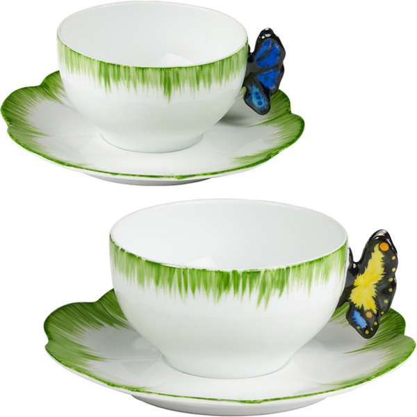 12 funky cups and saucers