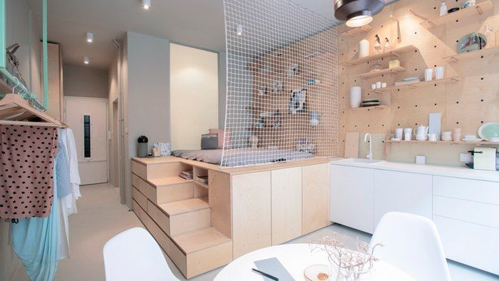 Stylish Laconic And Functional New York Loft Style: Meticulous Micro Apartments : Micro Apartment