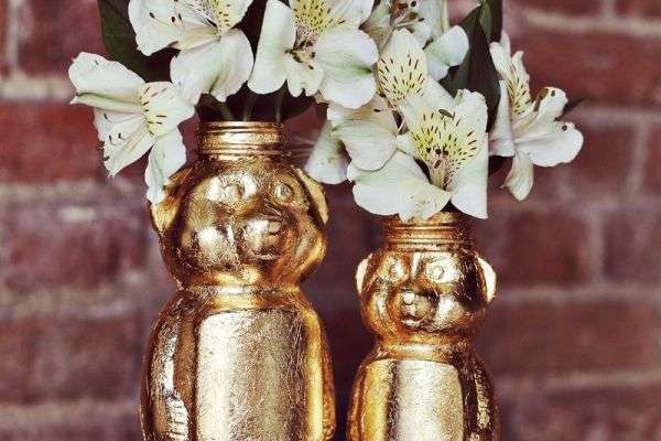 DIY Golden Animal Vases