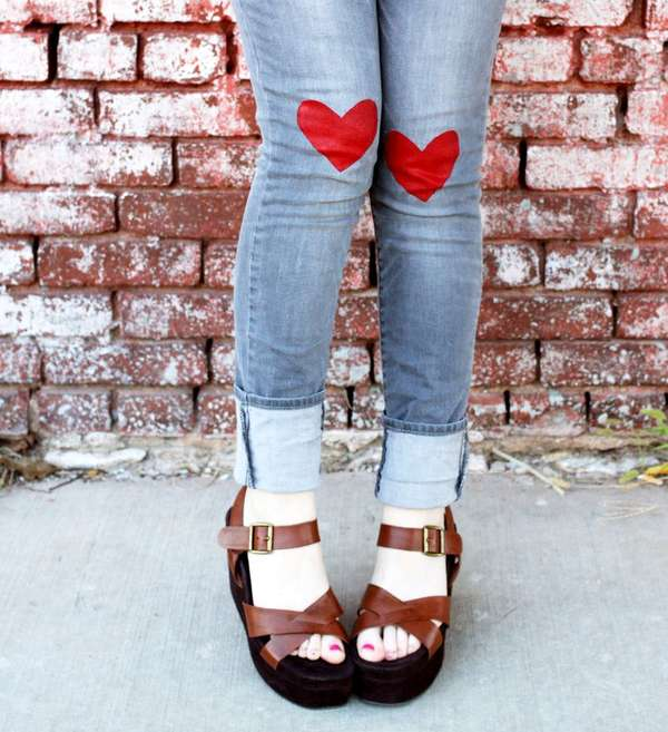 Heart-Decorated Denim