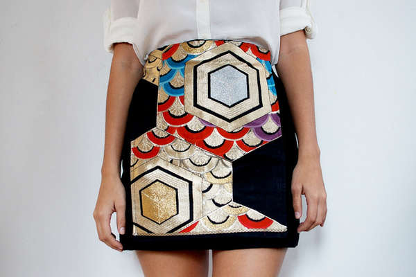 'a pair and spare' DIY Japanese Obi Panel Skirt