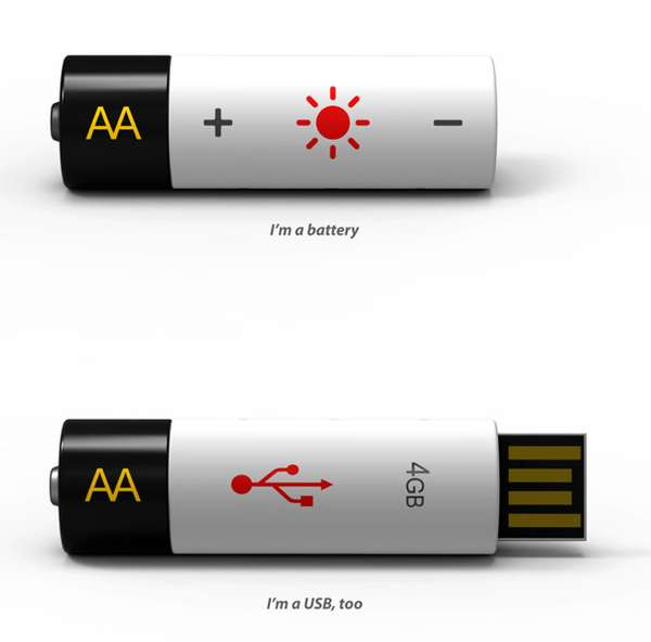 AA USB battery