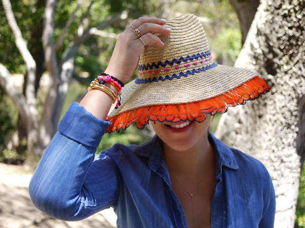 Colorfully Accented Straw Hats