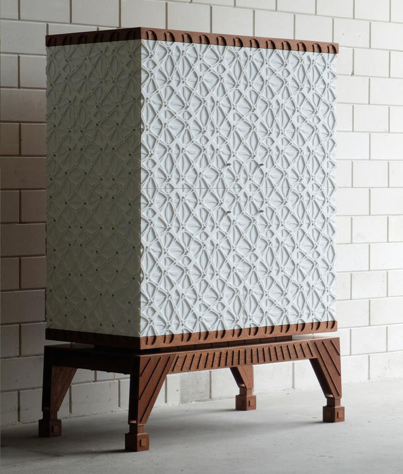 Gridded Acrylic Cabinets