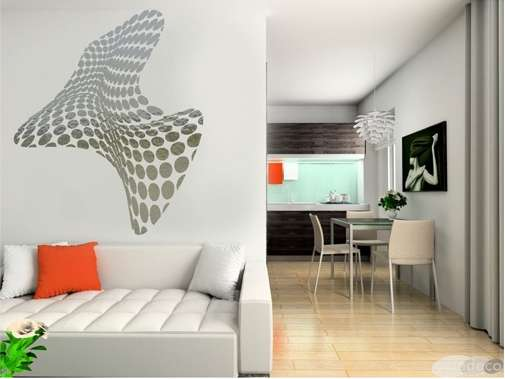 Reflective interior decals acte deco mirrored wall stickers - Decoration murale design metal ...