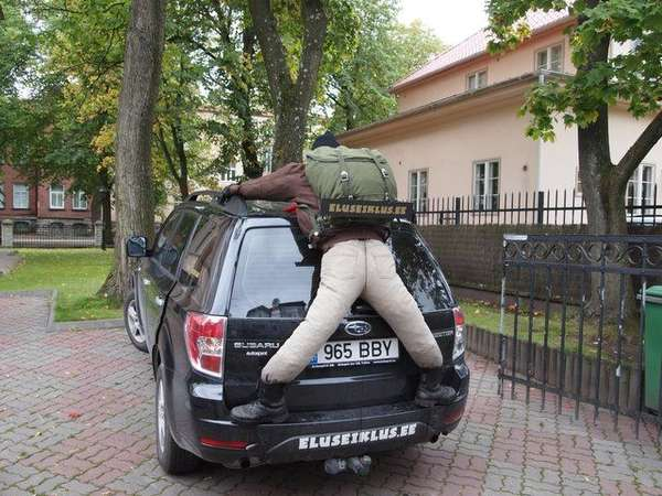 adventure dummy on a car