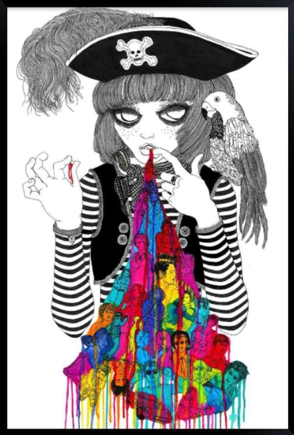 Rainbow Vomit Drawings