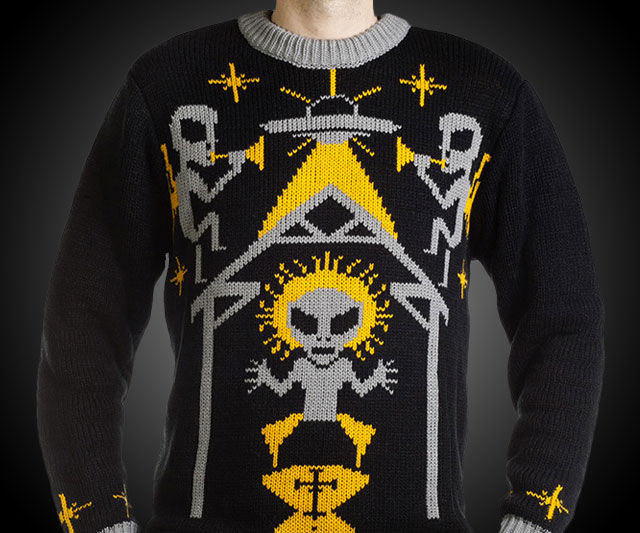 Intergalactic Sacrilege Sweaters Alien Nativity Ugly