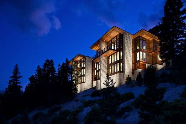 Glowing Mountainside Houses