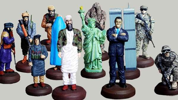 America vs Taliban chess set