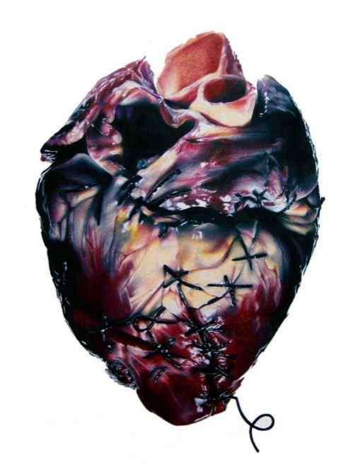 Broken Heart Drawings by Pencil http://www.trendhunter.com/trends/anatomical-broken-heart-drawings-made-using-only-coloured-pencil-sharpies