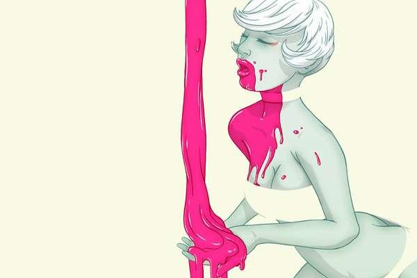 Pink Paint-Splattered Bosoms