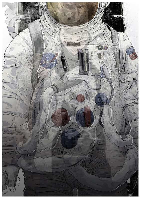 Somber Space Explorer Art