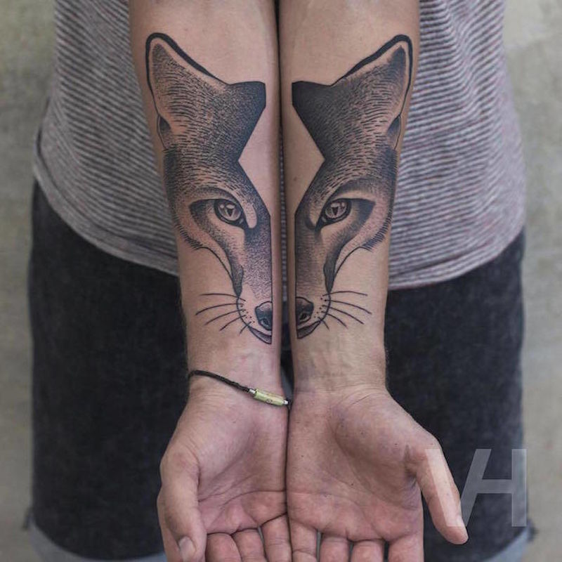 Split-Faced Animal Tattoos