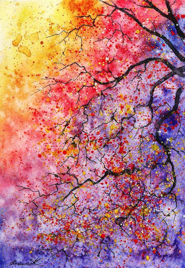 Watercolor Tree Paintings