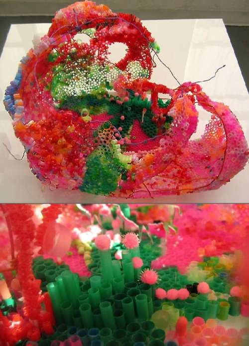 Plastic Straw Sculptures