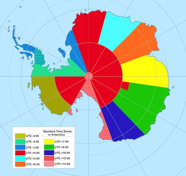 Antarctic Time Zone Maps