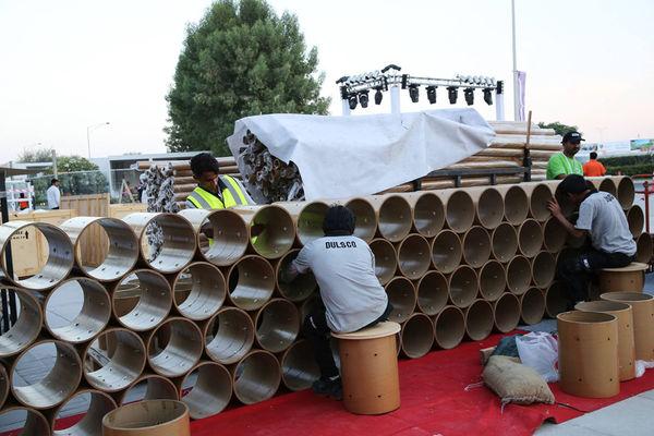 Cardboard Cylinder Art Pavilions