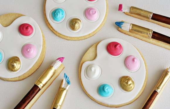 Artist Palette Paintbrush Cookies