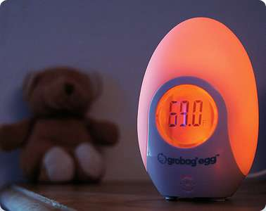 glowing baby safety pods grobag egg changes color to monitor room temperature