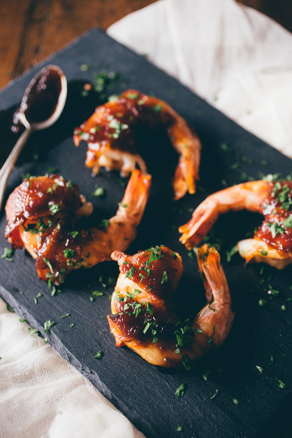 Apple Butter-Glazed Prawns