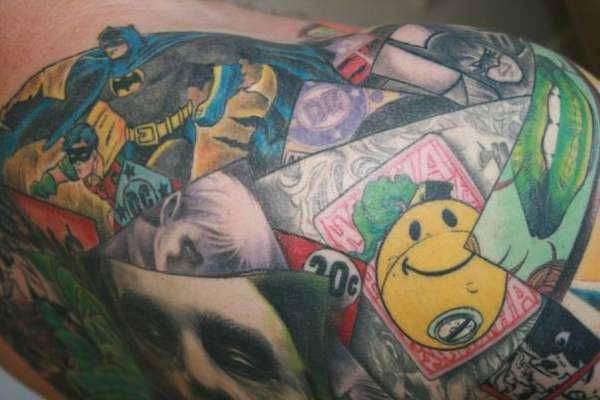 batman collage tattoo