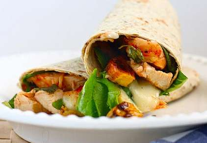 BBQ Chicken Brie and Plantain Wraps