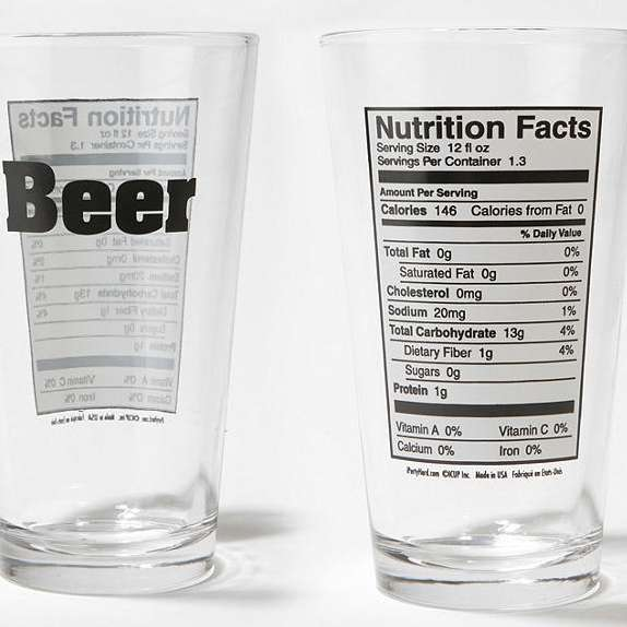 Beer Nutrition Pint Glass