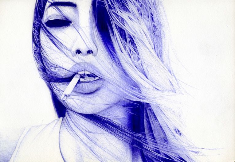 Seductive Ballpoint Pen Portraits