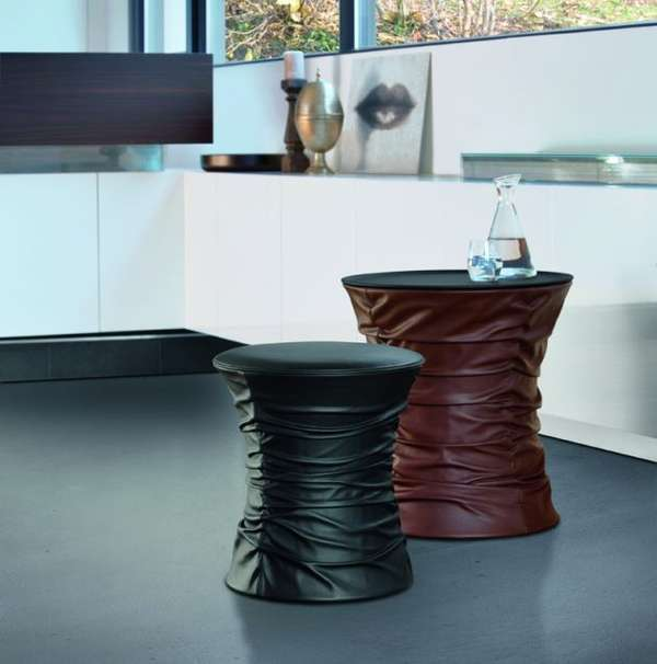 Ruched Leather Stools