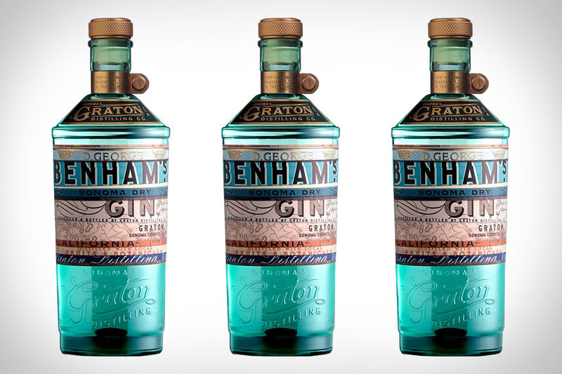 Turquoise-Tinted Gin Bottles