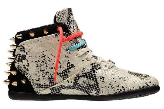 Snakeskin Studded Sneakers