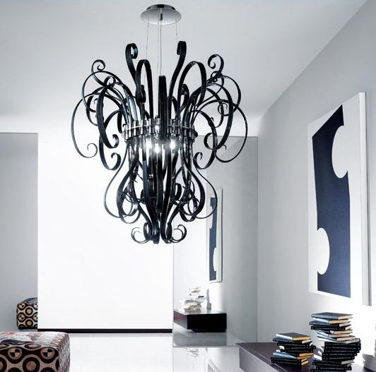 Curly Glass Chandeliers Black Chandelier